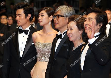 (l-r) South Korean Actor Kim Kang-woo South Korean Actress Kim Hyo-jin South Korean Director Im Sang-soo South Korean Actress Youn Yuh-jung and South Korean Actor Baek Yoon-sik Arrive For the Screening of 'Do-nui Mat' (the Taste of Money) During the 65th Cannes Film Festival in Cannes France 26 May 2012 the Movie is Presented in the Official Competition of the Festival Which Runs From 16 to 27 May France Cannes