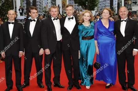 (l-r) Actors Sergei Kolesov Vlad Abashin Vladimir Svirski Russian Director Sergei Loznitsa Russian Actresses Yulia Peresild Nadezhda Markina and Guest Arrive For the Screening of 'V Tumane' (in the Fog) During the 65th Cannes Film Festival in Cannes France 25 May 2012 the Movie is Presented in the Official Competition of the Festival Which Runs From 16 to 27 May France Cannes