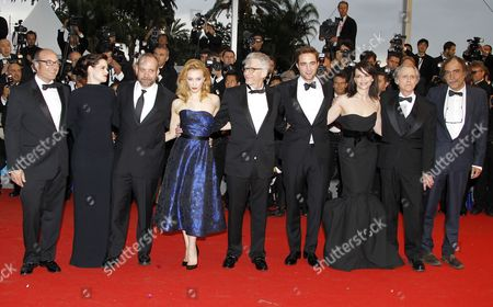 Stock Picture of (l-r) Producer Martin Katz Canadian Actress Emily Hampshire Us Actor Paul Giamatti Canadian Actress Sarah Gadon Canadian Director David Cronenberg British Actor Robert Pattinson French Actress Juliette Binoche Us Writer Don Delillo and Portuguese Producer Paulo Branco Arrive For the Screening of 'Cosmopolis' During the 65th Cannes Film Festival in Cannes France 25 May 2012 the Movie is Presented in the Official Competition of the Festival Which Runs From 16 to 27 May France Cannes