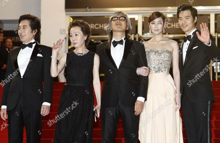 (l-r) South Korean Actor Baek Yoon-sik South Korean Actress Youn Yuh-jung South Korean Director Im Sang-soo South Korean Actress Kim Hyo-jin and South Korean Actor Kim Kang-woo Arrive For the Screening of 'Do-nui Mat' (the Taste of Money) During the 65th Cannes Film Festival in Cannes France 26 May 2012 the Movie is Presented in the Official Competition of the Festival Which Runs From 16 to 27 May France Cannes