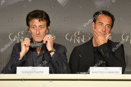 Italian Actor Nando Paone (l) and Italian Director Matteo Garrone (r) Attend the Press Conference For 'Reality' During the 65th Cannes Film Festival in Cannes France 18 May 2012 the Movie is Presented in the Official Competition of the Festival Which Runs From 16 to 27 May France Cannes