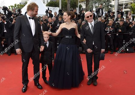Belgian Actor Matthias Schoenaerts (l) and Young Actor Armand Verdure French Actress Marion Cotillard (2-r) French Director Jacques Audiard (r) Arrive For the Screening of 'De Rouille Et D'os' (rust and Bone) During the 65th Cannes Film Festival in Cannes France 17 May 2012 the Movie is Presented in the Official Competition of the Festival Which Runs From 16 to 27 May France Cannes