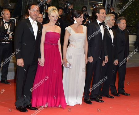 Stock Image of Italian Director Matteo Garrone (l) Italian Actress Loredana Simioli (3-l) Italian Actor Nando Paone (3-r) and Guests Arrive For the Screening of 'Reality' During the 65th Cannes Film Festival in Cannes France 18 May 2012 the Movie is Presented in the Official Competition of the Festival Which Runs From 16 to 27 May France Cannes