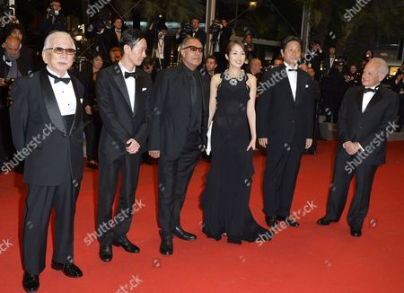 Japanese Actress Rin Takanashi (3-r) Iranian Director Abbas Kiarostami (3-l) Japanese Actor Tadashi Okuno (l) Japanese Actor Ryo Kase (2-l) and Guests Arrive For the Screening of 'Like Someone in Love' During the 65th Cannes Film Festival in Cannes France 21 May 2012 the Movie is Presented in the Official Competition of the Festival Which Runs From 16 to 27 May France Cannes