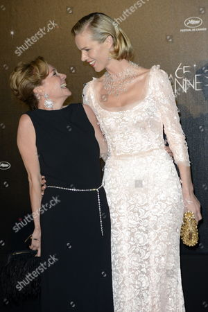Co-president of Chopard Caroline Gruosi Scheufele (l) and Czech Model Eva Herzigova (r) Arrive at the Opening Dinner Held at the Agora Pavilion After the Opening Ceremony of the 65th Cannes Film Festival in Cannes France 16 May 2012 the Film Festival Runs From 16 to 27 May France Cannes