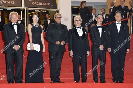 Japanese Actress Rin Takanashi (2-l) Iranian Director Abbas Kiarostami (3-l) Japanese Actor Tadashi Okuno (3-r) Japanese Actor Ryo Kase (2-r) and Guests Arrive For the Screening of 'Like Someone in Love' During the 65th Cannes Film Festival in Cannes France 21 May 2012 the Movie is Presented in the Official Competition of the Festival Which Runs From 16 to 27 May France Cannes
