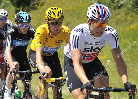 (l-r) Sky Procycling Team Rider Christopher Froome of Britain Sky Procycling Team Rider Bradley Wiggins of Britain and Sky Procycling Team Rider Edval Boasson Hagen of Norway Cycle During the 10 Th Stage of the Tour De France 2012 Cycling Race Between Macon and Bellegarde-sur-valserine France 11 July 2012 France Bellegarde-sur-valserine