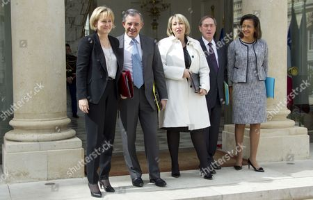 (l-r) Minister of Apprenticeships and Training Nadine Morano Junior Ecology Minister Thierry Mariani Junior Minister For Social Cohesion Marie-anne Montchamp Interior Minister Claude Gueant and Junior Overseas Minister Marie-luce Penchard Pose on the Steps As They Leave the Elysee Palace After Their Final Government Cabinet Meeting in Paris 09 May 2012 Fillon Announced That He Will Present His Government's Resignation to Outgoing President Nicolas Sarkozy Ahead of the Official Presidency Hand-over to President-elect Francois Hollande to Be Held 15 May France Paris