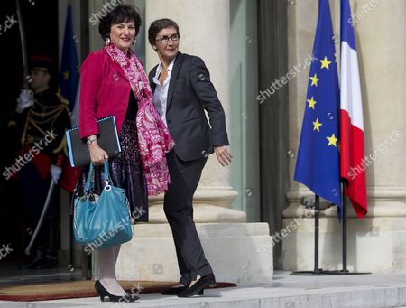 French Junior Minister For Social Affairs and Health in Charge of Family Issues Dominique Bertinotti (l) and Minister of Sports and Youth Valerie Fourneyron (r) Arrive For the Weekly Cabinet Meeting at the Elysee Palace in Paris France 22 June 2012 the French Government Underwent a Minor Adjustment on 21 June with the Cabinet Now Totallling 38 Members Four More Than the Previous One the New Cabinet Features 19 Men and 19 Women As Well As the Prime Minister France Paris