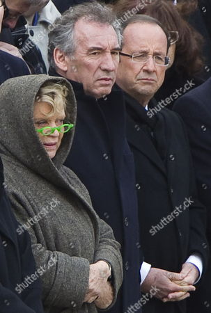 From L-r Candidates For the 2012 French Presidential Election: Europe Ecologie-les Verts (eelv) Eva Joly Democratic Movement (modem) Francois Bayrou and Parti Socialist (ps) Francois Hollande Attend a Funeral Ceremony Honoring World War Ii French Resistance Leader Raymond Aubrac at the Invalides Monument Paris France 16 April 2012 Aubrac a Major Leader in the French Resistance is Famed For a Daring Escape After Being Captured by the Nazis During World War Ii Alongside French Resistance Hero Jean Moulin Aubrac Died at the Age of 97 in Paris 10 April 2012 France Paris