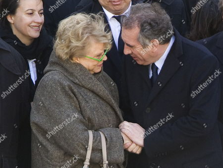 Europe Ecologie-les Verts (eelv) Party Candidate For the 2012 French Presidential Election Eva Joly (l) Shakes Hands with Democratic Movement (modem) Party Candidate For the 2012 French Presidential Election Francois Bayrou (r) As They Attend a Funeral Ceremony Honoring World War Ii French Resistance Leader Raymond Aubrac at the Invalides Monument Paris France 16 April 2012 Aubrac a Major Leader in the French Resistance is Famed For a Daring Escape After Being Captured by the Nazis During World War Ii Alongside French Resistance Hero Jean Moulin Aubrac Died at the Age of 97 in Paris 10 April 2012 France Paris