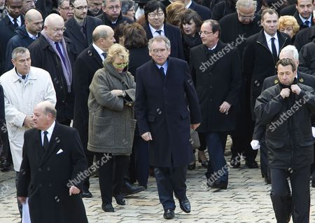 Fro Center L-r Candidates For the 2012 French Presidential Election; Europe Ecologie-les Verts (eelv) Eva Joly Democratic Movement (modem) Francois Bayrou and Parti Socialist (ps) Francois Hollande Attend the Funeral Ceremony Honoring World War Ii French Resistance Leader Raymond Aubrac at the Invalides Monument Paris France 16 April 2012 Aubrac a Major Leader in the French Resistance is Famed For a Daring Escape After Being Captured by the Nazis During World War Ii Alongside French Resistance Hero Jean Moulin Aubrac Died at the Age of 97 in Paris 10 April 2012 France Paris