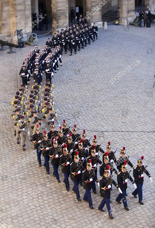 Stock Picture of French Soldiers March in Formation During a Funeral Ceremony Honoring World War Ii French Resistance Leader Raymond Aubrac in Paris France 16 April 2012 Aubrac a Major Leader in the French Resistance is Famed For a Daring Escape After Being Captured by the Nazis During World War Ii Alongside French Resistance Hero Jean Moulin Aubrac Died at the Age of 97 in Paris 10 April 2012 France Paris