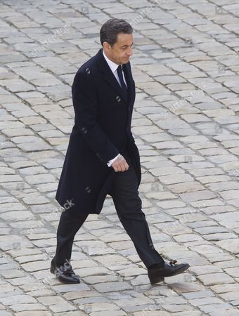 Stock Photo of French President Nicolas Sarkozy Attends a Funeral Ceremony Honoring World War Ii French Resistance Leader Raymond Aubrac at the Invalides Monument Paris France 16 April 2012 Aubrac a Major Leader in the French Resistance is Famed For a Daring Escape After Being Captured by the Nazis During World War Ii Alongside French Resistance Hero Jean Moulin Aubrac Died at the Age of 97 in Paris 10 April 2012 France Paris