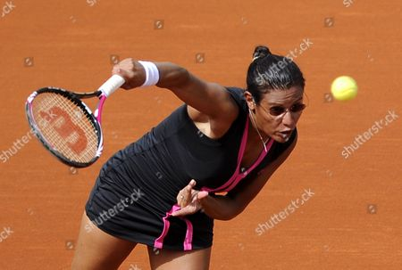 Stephanie Foretz Gacon of France Serves to Na Li of China During His Second Round Match For the French Open Tennis Tournament at Roland Garros in Paris France 31 May 2012 France Paris