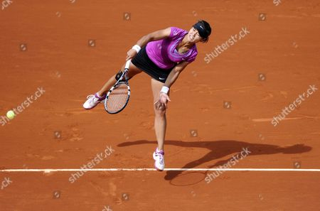 Na Li of China Serves to Stephanie Foretz Gacon of France During Their Second Round Match For the French Open Tennis Tournament at Roland Garros in Paris France 31 May 2012 France Paris