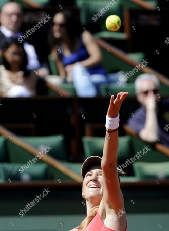 Victoria Azarenka of Belarus Serves to Alberta Brianti of Italy During Their First Round Match For the French Open Tennis Tournament at Roland Garros in Paris France 28 May 2012 France Paris