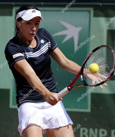 Alberta Brianti of Italy Returns to Victoria Azarenka of Belarus During Their First Round Match For the French Open Tennis Tournament at Roland Garros in Paris France 28 May 2012 France Paris