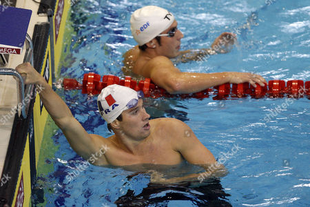 Sebastien Rouault (bottom) of France and His Teammate Anthony Pannier Look Back After Competing in the Men's 800m Freestyle Heats During the Len European Swimming Championships in Debrecen Hungary 24 May 2012 Hungary Debrecen