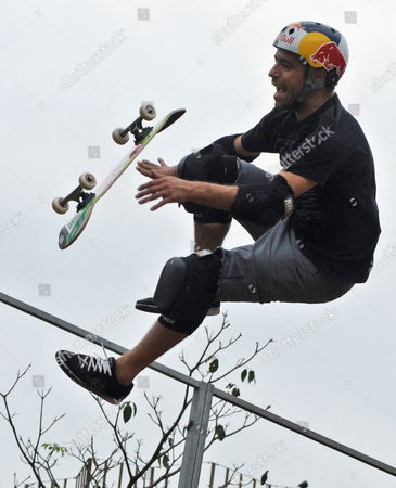 Sandro Dias of Brazil a Member of the Extreme Sports Stars Team Shows His Skills with the Skateboard As Part of the 'Mountain Dew Xtreme Tour' in the Southern Indian City of Bangalore 21 April 2012 an International Team of Ten Professional Skaters Bikers and Boarders Display Their Skills in Skateboarding Bmx Inline Skating and Freestyle Motocross (fmx) For the First Time in India the 'Xtreme Tour' Will Also Travel to Other Cities in India Like Noida Kanpur Gurgaon Delhi and Chandigarh India Bangalore