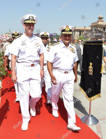 Stock Image of Us Naval Chief of Operations Admiral Jonathan Greenert (l) Arrives with Indian Navy Chief Admiral Nirmal Verma (r) Prior to a Meeting in New Delhi On23 April 2012 Us Naval Chief of Operations Admiral Jonathan Greenert in India on a Visit For High-level Talks on Bilateral Defence Cooperation India New Delhi