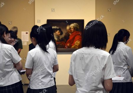 Japanese Students Look at the Painting 'Portrait of Three Men' by French Artist Francois Andre Vincent During the Exhibition From France's Louvre Museum at the Fukushima Prefectural Museum in Fukushima Japan 28 July 2012 the Exhibition Will Run From 20 July to 17 September in Fukushima Prefectures Japan Fukushima
