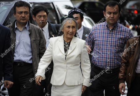 Uigur Human Rights Activist and Leader of the World Uigur Congress Rebiya Kadeer (c) Arrives at a Rally to Protest Against Chinese Government's Policy in Uigur in Tokyo Japan 17 May 2012 Kadeer is in Tokyo where She Participated at a World Uigur Congress Meeting Japan Tokyo