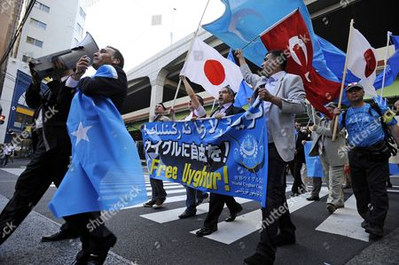 Uigur Protesters Shout Slogans During a Rally Against Chinese Government's Policy in Uigur in Tokyo Japan 17 May 2012 Uigur Human Rights Activist and Leader of the World Uigur Congress Rebiya Kadeer is in Tokyo where She Participated at a World Uigur Congress Meeting Japan Tokyo