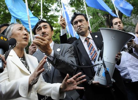 Uigur Human Rights Activist and Leader of the World Uigur Congress Rebiya Kadeer (l) Delivers a Speech During a Rally to Protest Against Chinese Government's Policy in Uigur in Tokyo Japan 17 May 2012 Kadeer is in Tokyo where She Participated at a World Uigur Congress Meeting Japan Tokyo