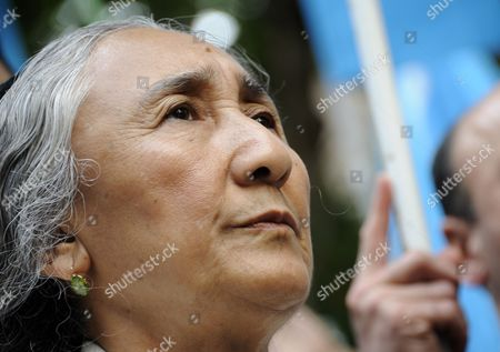 Uigur Human Rights Activist and Leader of the World Uigur Congress Rebiya Kadeer Attends a Rally to Protest Against Chinese Government's Policy in Uigur in Tokyo Japan 17 May 2012 Kadeer is in Tokyo where She Participated at a World Uigur Congress Meeting Japan Tokyo