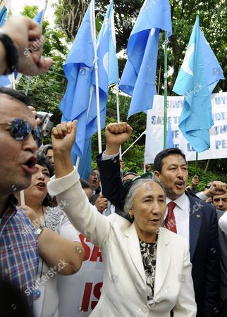 Uigur Human Rights Activist and Leader of the World Uigur Congress Rebiya Kadeer (r) Shouts Slogans During a Rally to Protest Against Chinese Government's Policy in Uigur in Tokyo Japan 17 May 2012 Kadeer is in Tokyo where She Participated at a World Uigur Congress Meeting Japan Tokyo