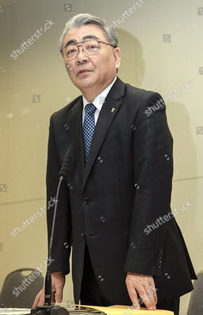 Stock Image of Tokyo Electric Power Company Incorporated (tepco) President Toshio Nishizawa Announces Its Earning Result of the Fiscal Year Ending at the Headquarters in Tokyo Japan 14 May 2012 Japan Tokyo