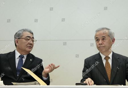 Tokyo Electric Power Company Incorporated (tepco) President Toshio Nishizawa (l) and Naomi Hirose (r) Successor to Nishizawa Talk During a News Conference After Tepco Announced Its Earning Result of the Fiscal Year Ending in Tokyo Japan 14 May 2012 New Leaders of the Tepco Will Be Officially Approved at the Shareholders' Meeting in June Japan Tokyo