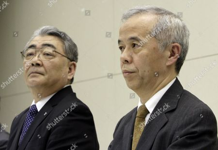 Stock Picture of Naomi Hirose (r) Next President of Tokyo Electric Power Company Incorporated (tepco) Speaks with President Toshio Nishizawa (l) After Tepco Announced Its Earning Result of the Fiscal Year Ending in Tokyo Japan 14 May 2012 New Leaders of the Tepco Will Be Officially Approved at the Shareholders' Meeting in June Japan Tokyo