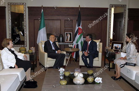 Stock Picture of Jordan's King Abdullah Ii (2-r) and His Wife Queen Rania (r) Meets with Italian President Giorgio Napolitano (2-l) and His Wife Clio Bittoni Napolitano (l) at the Royal Palace in Amman Jordan 02 April 2012 Media Reports Said Italian President Arrived in Amman For a Three-day Official Visit to the Kingdom Abdullah Ii and Napolitano Will Have Talks on Bilateral Relations and Ways to Boost Them in Various Fields in Addition to Developments in the Middle East Jordan Amman