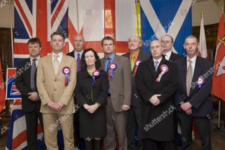 Richard Barnbrook BNP London Mayoral Candidate, with some of the BNP candidates standing for Greater London Authority election. L-R Bob Bailey, Richard Barnbrook, John Clarke, Roberta Woods, Julian Leppert, Chris Foster, Cliff Le May, Jeff Marshall and Dennis Pearce - launch of the British National Party campaign for Greater London Authority election