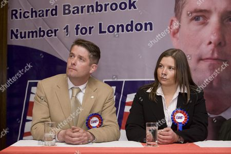 Richard Barnbrook BNP London Mayoral Candidate and Leader of the Opposition on Barking and Dagenham Borough Council sat with Emma Louise Colgate, launch of the British National Party campaign for Greater London Authority election