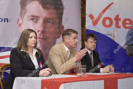 L-R Emma Louise Colgate, Richard Barnbrook BNP London Mayoral Candidate and Leader of the Opposition on Barking and Dagenham Borough Council and Bob Bailey, BNP Councillor (Barking and Dagenham Borough ) who is standing in the GLA elections, launch of the British National Party campaign for Greater London Authority election