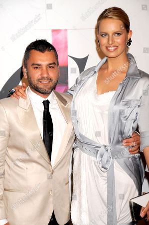 Designer Edmundo Castillo of Sergio Rossi and model Karolina Kurkova