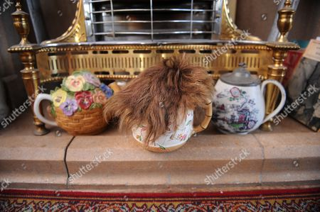 Frankie Howerd's wig displayed on a teapot in the living room.