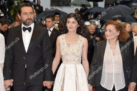 (l-r) French Actor Gilles Lellouche French Actress Audrey Tautou and French Actress Catherine Arditi Arrive For the Screening of 'Therese Desqueyroux' and the Closing Award Ceremony of the 65th Cannes Film Festival in Cannes France 27 May 2012 the Screening of the Movie Presented out of Competition Closes the Festival France Cannes