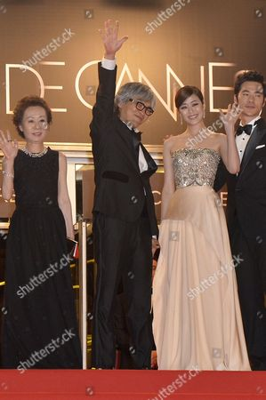 (l-r) South Korean Actress Youn Yuh-jung South Korean Director Im Sang-soo South Korean Actress Kim Hyo-jin and South Korean Actor Kim Kang-woo Arrive For the Screening of 'Do-nui Mat' (the Taste of Money) During the 65th Cannes Film Festival in Cannes France 26 May 2012 the Movie is Presented in the Official Competition of the Festival Which Runs From 16 to 27 May France Cannes