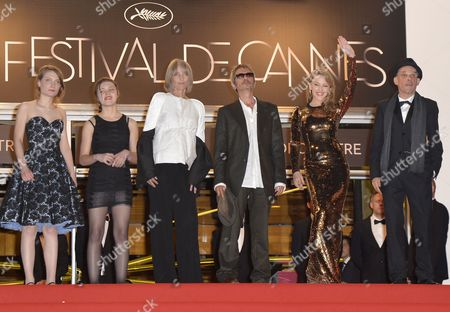 (l-r) French Actress Elise Lhomeau French Actress Jeanne Disson French Actress Edith Scob French Director Leos Carax Australian Actress Kylie Minogue and French Actor Denis Lavant Arrive For the Screening of 'Holy Motors' During the 65th Cannes Film Festival in Cannes France 23 May 2012 the Movie is Presented in the Official Competition of the Festival Which Runs From 16 to 27 May France Cannes