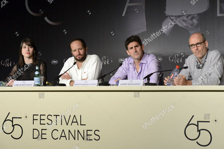 (l-r) Actress Nathalia Acevedo Mexican Director Carlos Reygadas Mexican Actor Adolfo Jimenez Castro and Mexican Producer Jaime Romandia Attend the Press Conference For 'Post Tenebras Lux' During the 65th Cannes Film Festival in Cannes France 24 May 2012 the Movie is Presented in the Official Competition of the Festival Which Runs From 16 to 27 May France Cannes