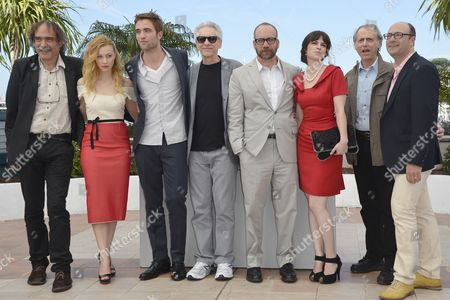 (l-r) Portuguese Producer Paulo Branco Canadian Actress Sarah Gadon British Actor Robert Pattinson Canadian Director David Cronenberg Us Actor Paul Giamatti Canadian Actress Emily Hampshire Us Writer Don Delillo and Producer Martin Katz During the Photocall For 'Cosmopolis' at the 65th Cannes Film Festival in Cannes France 25 May 2012 the Movie is Presented in the Official Competition of the Festival Which Runs From 16 to 27 May France Cannes