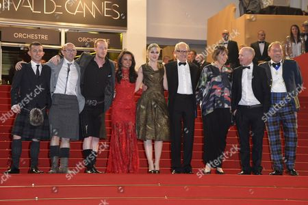 (l-r) Scottish Actor Paul Brannigan Actor Gary Maitland Actor William Ruane Actress Jasmin Riggins Actress Siobhan Reilly British Director Ken Loach British Producer Rebecca O'brien Scottish Screenwriter Paul Laverty and Actor Charlie Maclean Arrive For the Screening of 'The Angel's Share' During the 65th Cannes Film Festival in Cannes France 22 May 2012 the Movie is Presented in the Official Competition of the Festival Which Runs From 16 to 27 May France Cannes