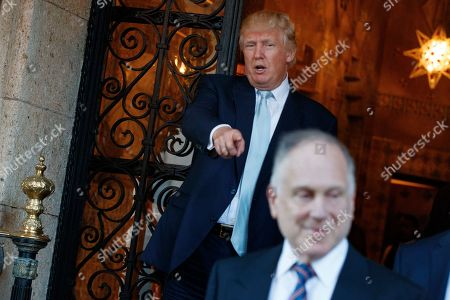 Donald Trump, Ronald Lauder President-elect Donald Trump points at World Jewish Congress President Ronald Lauder after meeting at Mar-a_Lago, in Palm Beach, Fla