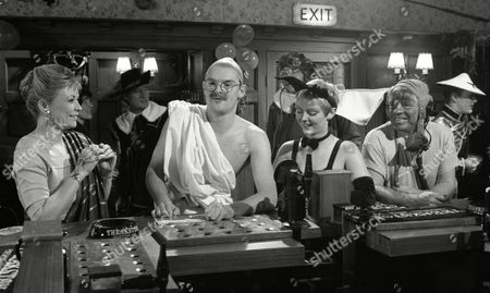 Johnny Caesar (as Bill Middleton) and Stan Richards (as Seth Armstrong) dressed as the Wright Brothers, with Claire King (as Kim Tate, dressed in Indian costume), Tony Pitts (as Archie Brooks, dressed as Ghandi) and Fionnuala Ellwood (as Lynn Whiteley, dressed as a pussycat) to celebrate 1st Anniversary of Alan Turner running The Woolpack Pub (Episode 1630 - 30th January 1992)