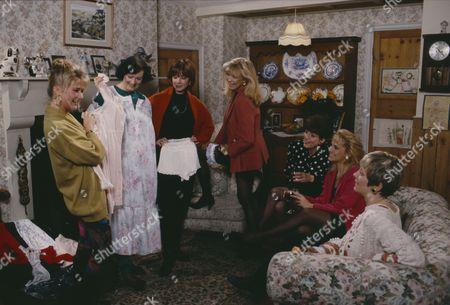 Madeleine Howard (as Sarah Connolly), Philomena McDonagh (as Carol Nelson), Kate Dove (as Elizabeth Feldmann), Fionnuala Ellwood (as Lynn Whiteley) and Claire King (as Kim Tate) at Sarah's underwear party (Ep 1644 - 19th March 1992)