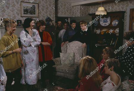 Madeleine Howard (as Sarah Connolly), Philomena McDonagh (as Carol Nelson), Kate Dove (as Elizabeth Feldmann), Fionnuala Ellwood (as Lynn Whiteley) and Claire King (as Kim Tate) with with Julian Walsh (as Dan), Gary Halliday (as Gary) at Sarah's underwear party (Ep 1644 - 19th March 1992)